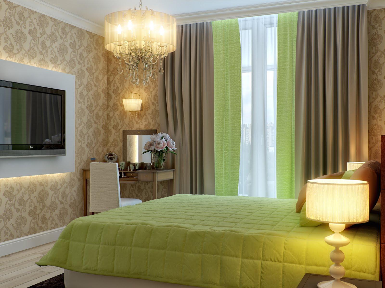 Зеленые занавески в интерьере фото