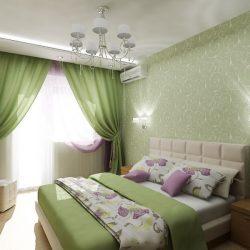 Дизайн-проект спальни в зеленых тонах